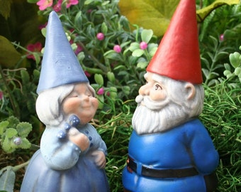 Garden Gnomes Couple - Concrete Fairy Garden Art