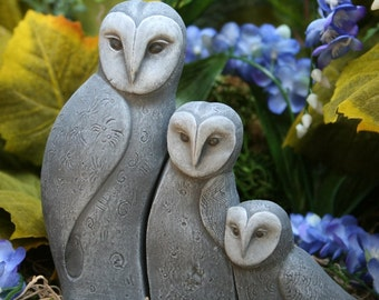 Concrete Bird Statues, Set of 3 Owls, Sweet Owl Family Trio Outdoor Sculpture