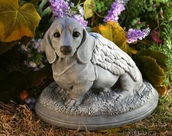 Dog Angel Statue Dachshund Pet Memorial Garden Decor Art