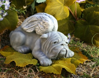 Angel Bulldog Garden Statues Concrete Bulldog Angel Dog Sculptures