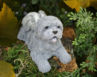 Dog Angel Statues - Dog Memorials - Mixed Breed, Terrier, Shih Tsu, Bichon Frise