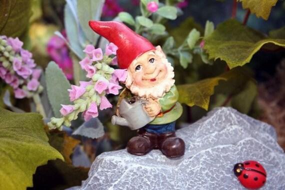 Gnome Garden: Concrete Garden Gnome Ladybug Sculpture Outdoor By