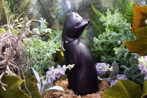 MOON GAZING CAT STATUE - Lucky Black Cat