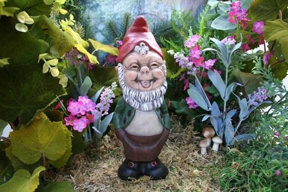 Gnome Garden: LAUGHING GARDEN GNOME Gnomes Garden Concrete Garden Art