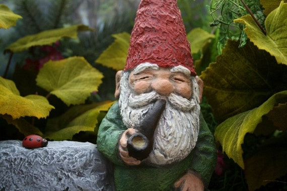 Gnome In Garden: Garden Gnome Smoking His Pipe LARGE Concrete By PhenomeGNOME