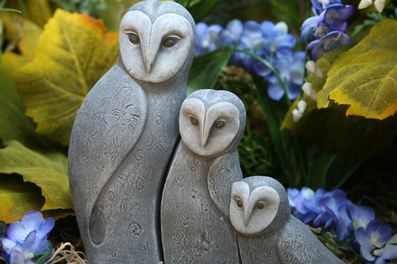 Concrete Bird Statues, Set of 3 Owls, Sweet Owl Family Trio Outdoor Sculpture