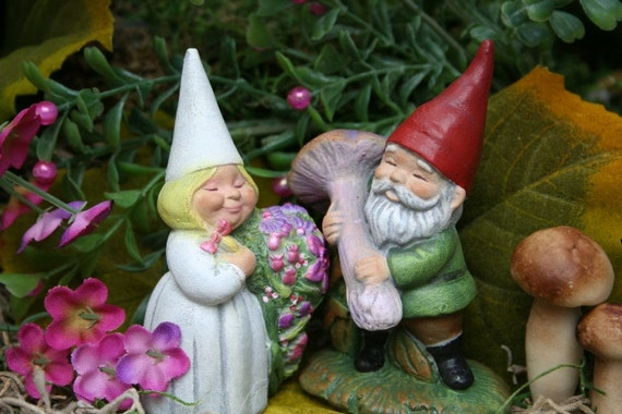 Garden Gnomes Wedding Cake Topper Miniature Gnomes for