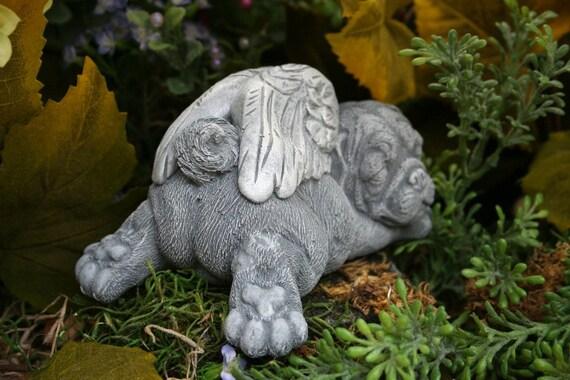 Angel Pug Statue   Pet Memorial Dog Garden Sculpture