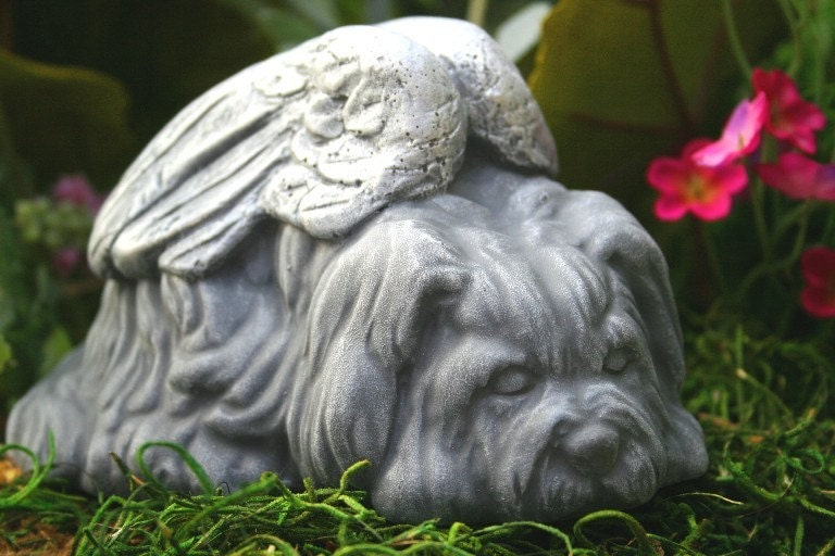 Dog Angel Statues Dog Memorials Shih Tsu Lhasa By Phenomegnome