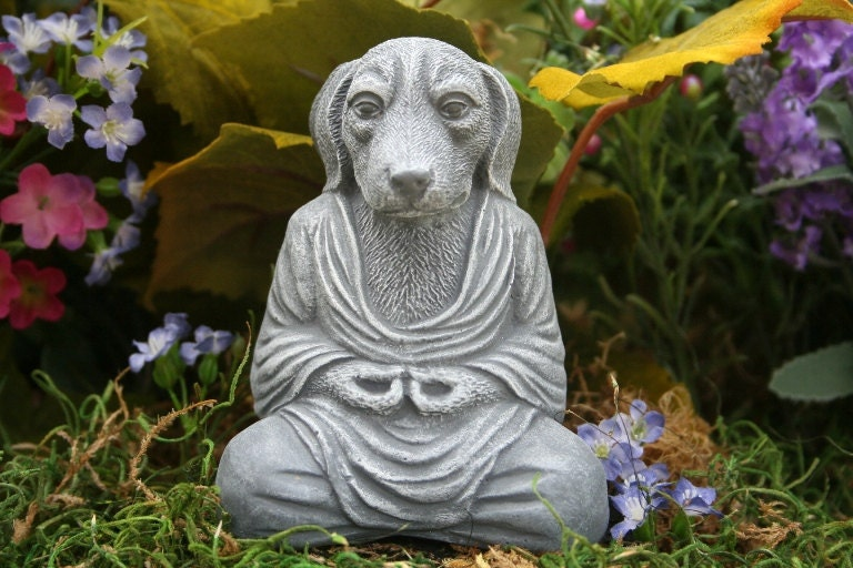 Dog Buddha Meditating Mongrel Zen Garden Statue