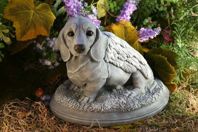Dog Angel Statue Dachshund Pet Memorial Garden By Phenomegnome