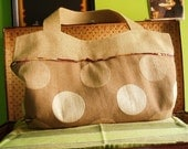 JAPANESE POIS big bag in burlap and upholster fabric in tan, beige and wheat