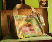 THE VILLAGE big bag in printed cotton and linen in saddle brown