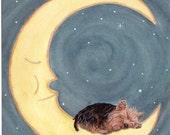 Yorkshire terrier / yorkie sleeping on Moon Signed Lynch Art Print