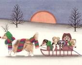Sheltie (shetland sheepdog) family goes for sled ride / Lynch signed folk art print