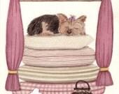 Pampered Yorkshire Terrier (yorkie) / Lynch signed folk art print