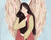 Black cat cradled by angel / Lynch signed folk art print