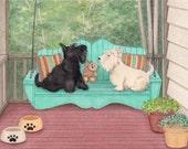 Pair of scotties share a porch swing / Lynch signed folk art print