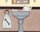 West highland terrier (westie) bathing in a sink / Lynch signed folk art print