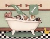 Shetland sheepdogs (shelties) fill tub at bath time / Lynch signed folk art print