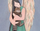 Maine Coon Cat cradled by angel / Lynch signed folk art print