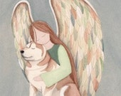 Copper red Siberian Husky with Angel / Lynch signed folk art print