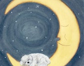 Bichon frise sleeping on the moon / Lynch signed folk art print