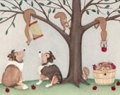 LARGE Shelties (shetland sheepdogs) baffled by tree full of squirrles / Lynch signed folk art print