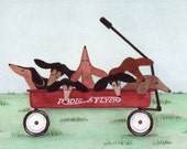 How many dachshunds (doxies) are in the wagon \/ Folk art Lynch print