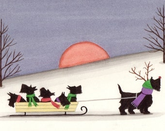 Christmas cards: Scottish terrier (scottie) family goes for a sled ride / Lynch folk art