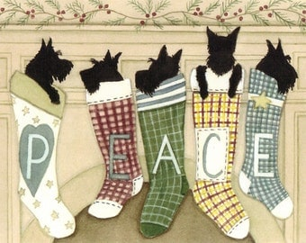 Scottish terriers (scotties) hung by the chimney with care / Lynch signed folk art print
