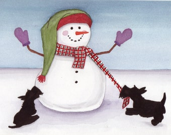 Two scottish terriers (scotties) frolicking with snowman / Lynch signed folk art print
