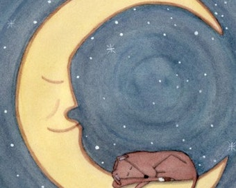 LARGE Italian greyhound sleeping on the moon / Lynch signed folk art print