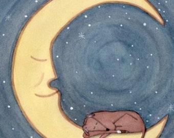 Greyhound sleeping on the moon / Lynch signed folk art print