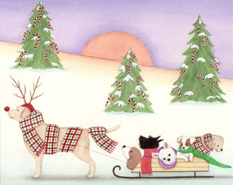 A sleighful of dogs for Christmas / Lynch signed print folk art