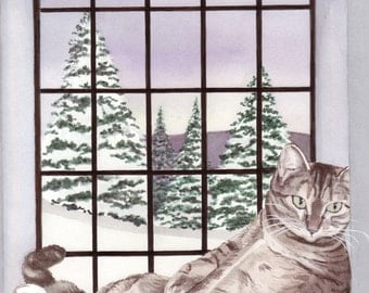 Baby, it's cold outside, but fat tiger cat has warm window seat / Lynch signed folk art print