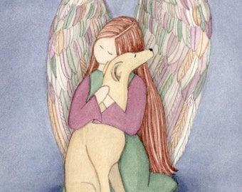 Greyhound with angel / Lynch signed folk art print
