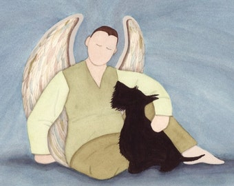 Scottish Terrier (scottie) with Boy Angel / Lynch signed folk art print