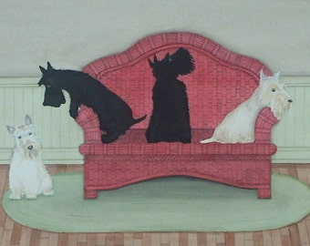 Wheatens and scotties scramble for place on couch / Lynch signed folk art print