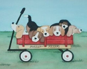 Beagle family going for a wagon ride / Lynch signed folk art print