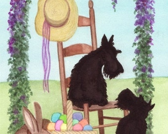 Scotties (scottish terriers) at Easter / Lynch signed folk art print