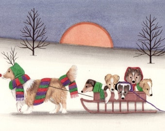 Sheltie (shetland sheepdog) family goes for sled ride / Lynch signed folk art print