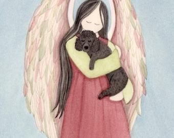 Black poodle cradled by angel / Lynch signed folk art print