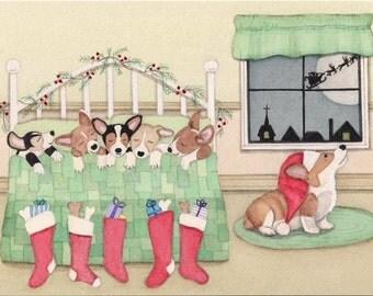 Pembroke Welsh Corgis snug in their beds on Christmas Eve / Lynch signed folk art print