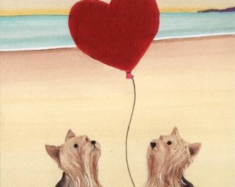 Yorkshire Terrier (yorkie) love / Lynch signed folk art print