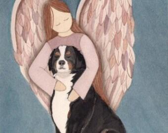 Bernese Mountain Dog with Angel / Lynch signed folk art print