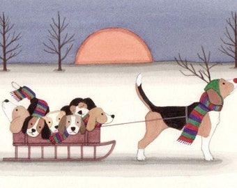 Beagle as Rudolph taking family for sled ride / Lynch signed folk art print