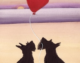 Scottish terriers (scotties) in love / Lynch signed folk art print