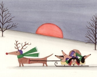 Christmas cards: Dachshund (doxie) family takes a sled ride / Lynch folk art