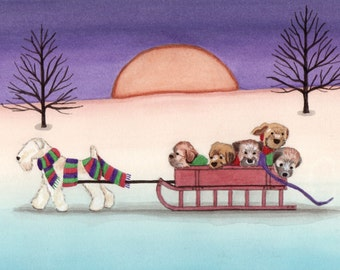 12 Christmas cards: Wheaten terrier (wheatie) family going for a sled ride / Lynch folk art